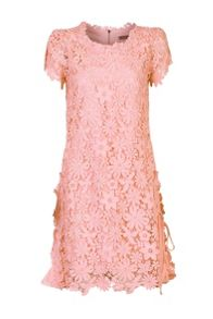 Jolie Moi Side Pleats Crochet Lace Dress