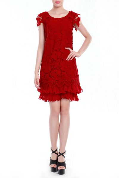 Jolie Moi Crochet lace A-line dress