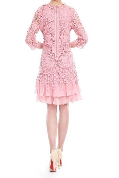Jolie Moi 3/4 sleeve crochet lace dress