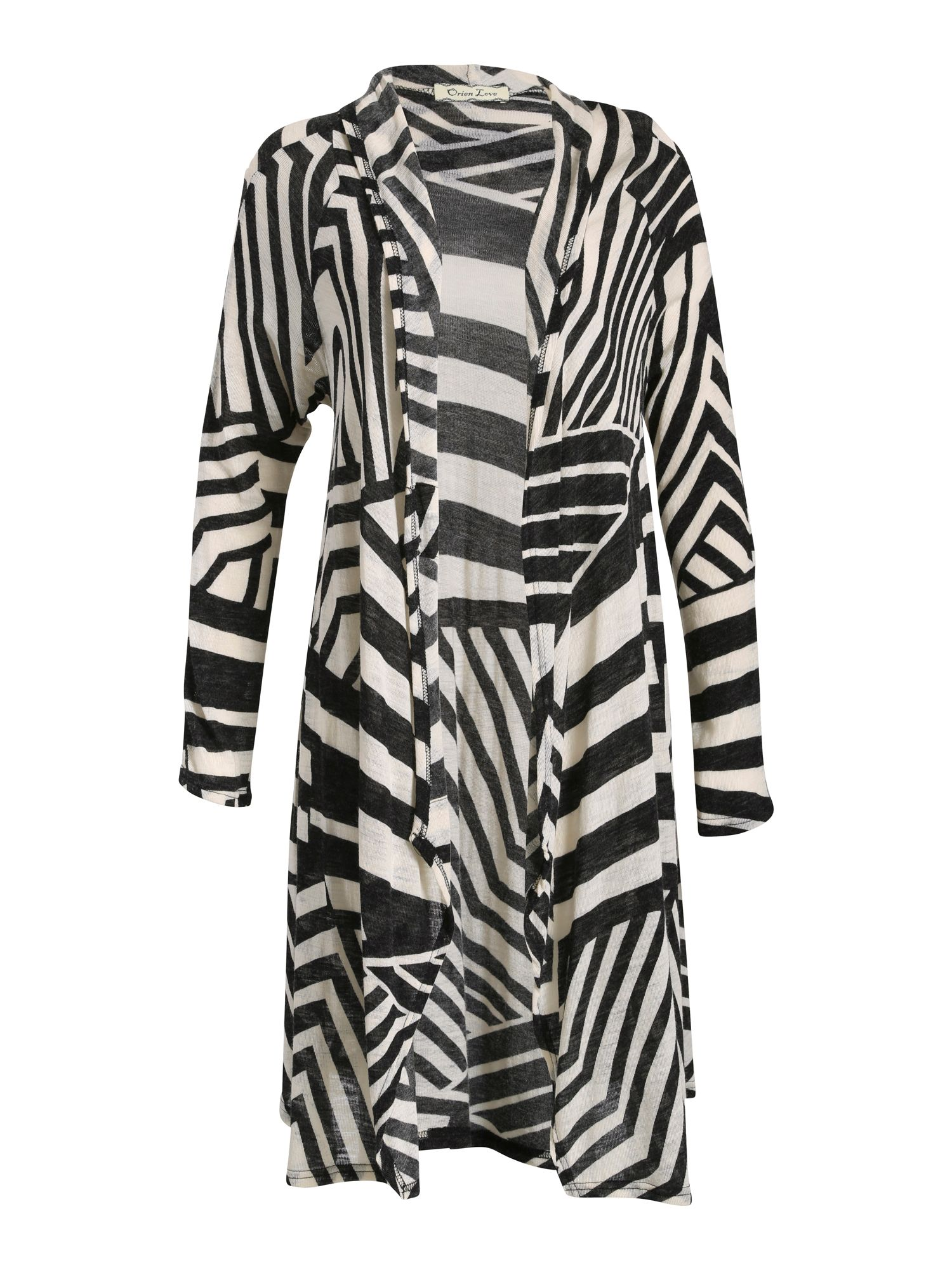 Orien Love Zebra Pattern Draped Cardigan, Black