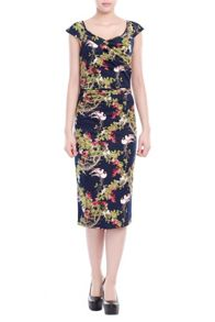 Tropical print bodycon dress