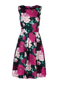 Jolie Moi Floral Printed 50`s Prom Dress
