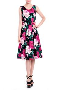 Floral Printed 50`s Prom Dress