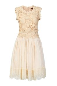 Jolie Moi Crochet lace overlay mesh prom dress