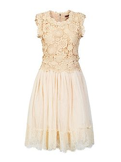 Crochet lace overlay mesh prom dress