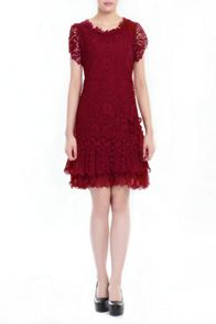 Jolie Moi Crochet Lace Cap Sleeve Dress