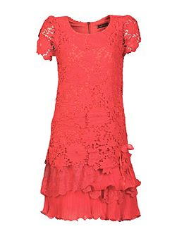 Crochet Lace Tiered Hem Dress