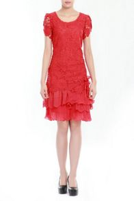 Jolie Moi Crochet Lace Tiered Hem Dress