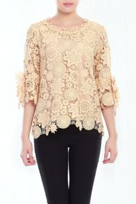 Crochet Lace 3/4 Sleeve Top