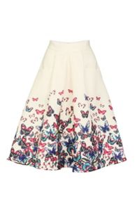 Butterfly Print Pleated A-line Skirt