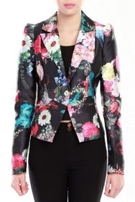 Print Structured Ftted Blazer