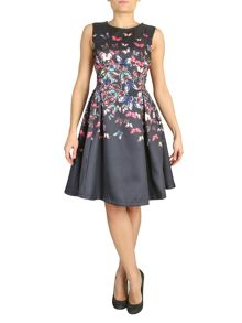 Fit And Flare Printed Satin Dress