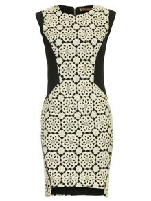 Crochet Lace Panelled Zipper Dress