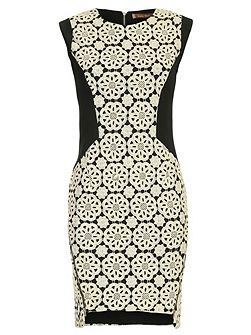 Jolie Moi Crochet Lace Panelled Zipper Dress