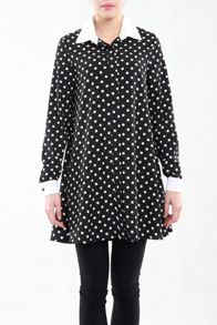 Contrast Collar Long Shirt