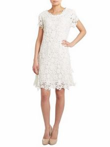Crochet lace side pleated dress