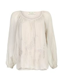 Butterfly Embroidered Silk Blend Top