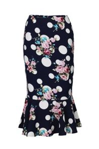 Floral Print fishtail Skirt