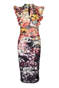 Jolie Moi Floral Print Frilly shoulder Dress