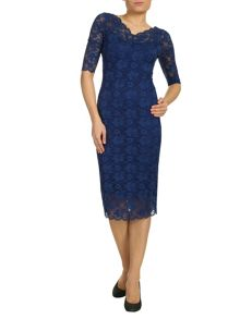 Jolie Moi V Neck 3/4 Sleeve Lace Dress