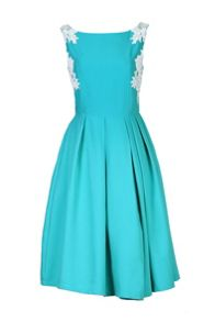 Lace Applique Panelled 50s Prom Dress