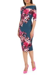 Jolie Moi Bardot Neck Floral Print Dress