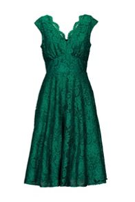 V Neck Fit & Flare Lace Dress