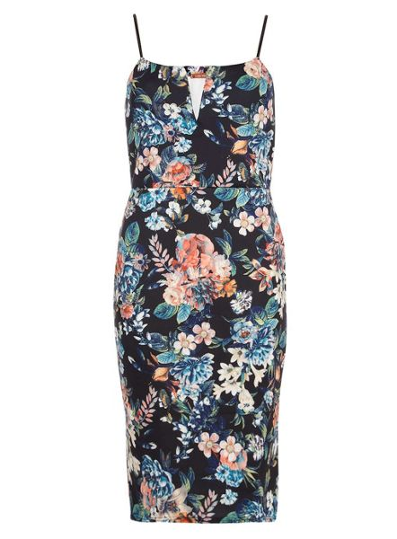 Jolie Moi Floral Print V Bar Neck Dress