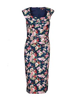 Retro Floral Cross Front Dress