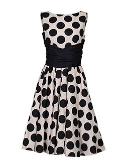Wrapped Waist Polka Dot Dress