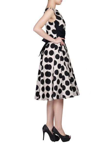 Jolie Moi Wrapped Waist Polka Dot Dress