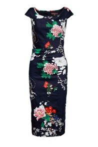 Oriental Floral Print Ruched Dress