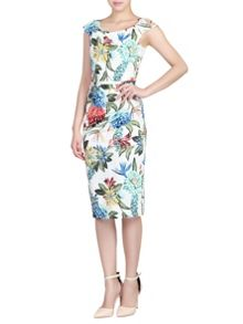 Jolie Moi Floral Print Ruched Dress
