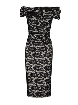 Bardot Neck Lace Dress