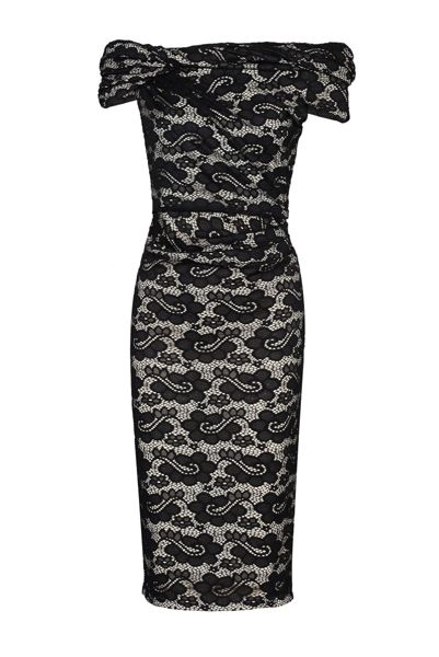 Jolie Moi Bardot Neck Lace Dress