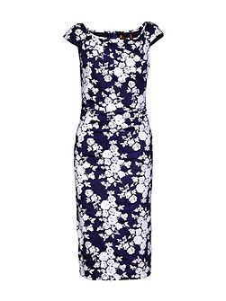 Retro Floral Print Ruched Dress