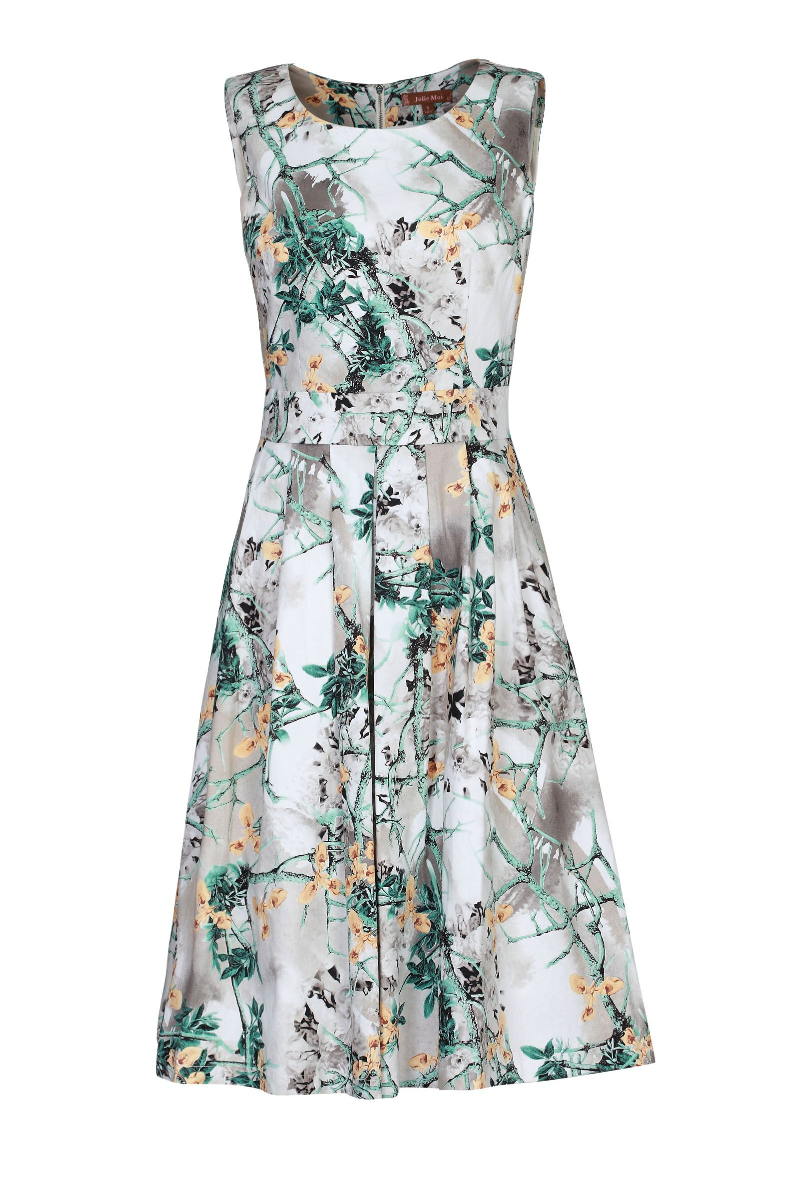 Jolie Moi Floral Print 50s Pleated Dress £42.00 AT vintagedancer.com