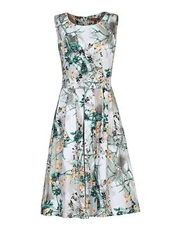 Floral Print 50s Pleated Dress