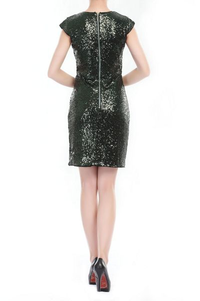 Jolie Moi Cap Sleeve Sequin Dress