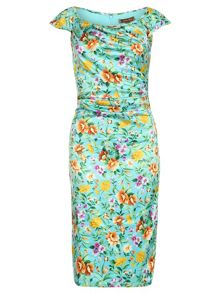 Jolie Moi Retro Floral Print Ruched Dress