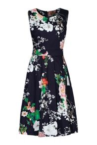 Jolie Moi Floral Print 50s Pleated Dress