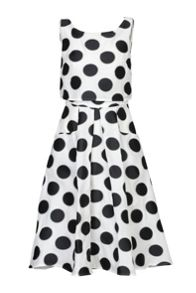 Polka Dot Jacquard Overlay Dress