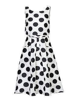 Jolie Moi Polka Dot Jacquard Overlay Dress