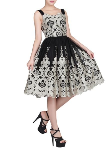 Jolie Moi Metallic Floral Lace Prom Dress