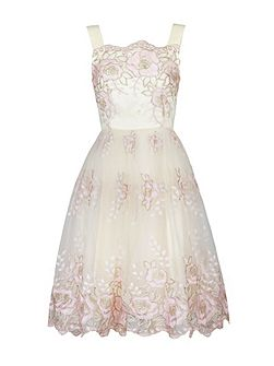 Metallic Floral Lace Prom Dress