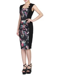 Floral Print Insert Ruched Dress