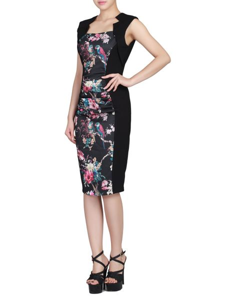 Jolie Moi Floral Print Insert Ruched Dress