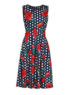 Retro Print 50S Pleated Dress