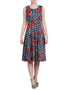Jolie Moi Retro Print 50S Pleated Dress