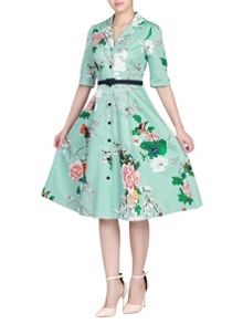 Jolie Moi Retro Print Belted Shirt Dress